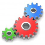 three gears on a white background