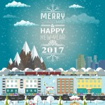 Invitation or winter's card Merry Christmas and Happy New Year. Template flat design vector illustration. City life and urban landscape under the snow. Train rides around the mountains. Winter market